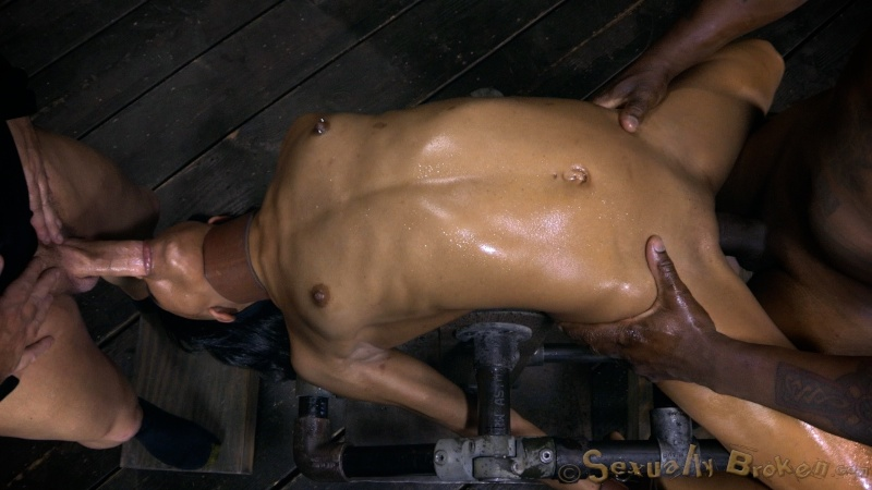 Fixed slim black slut raped from both sides by two big cocks