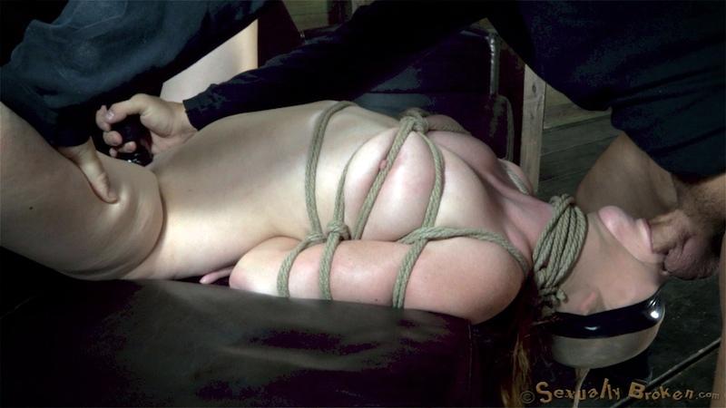 Masked bonded girl brutally owned by her master