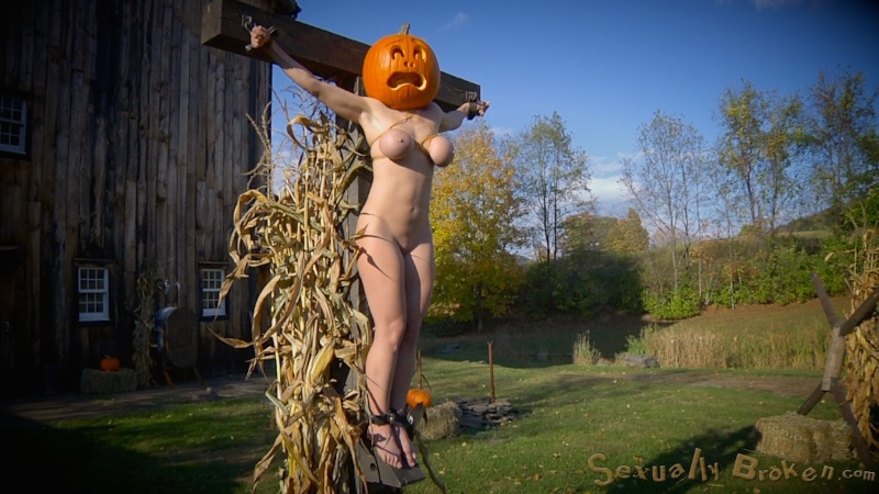 Sex toy with huge boobs abused on the Halloween