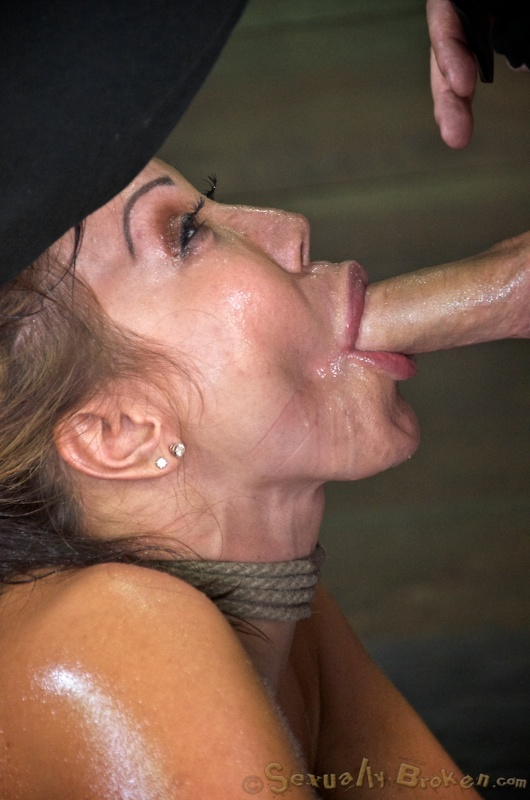 Deep anal abuse threesome with a bound oiled MILF