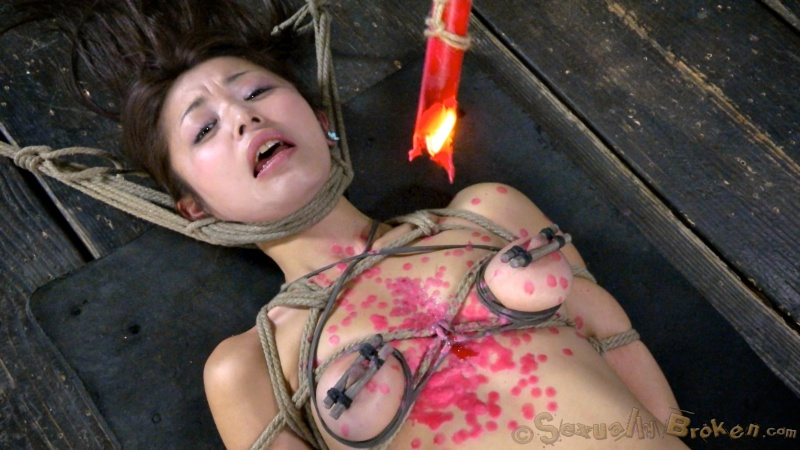 Asian Marica Hase got throat fucked, bound and hot wax tortured